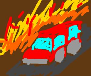A car driving where he belongs(fire)