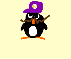 Waluigi penguin saying WAH!