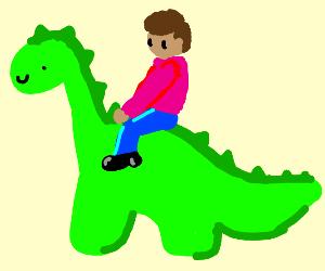 man riding dinosaur