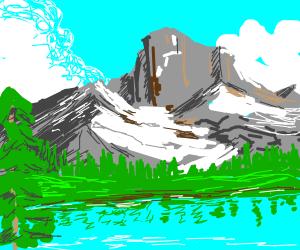 A beautiful moutain and lake landscape