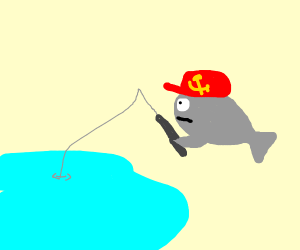 Fish with communism hat goes fishing