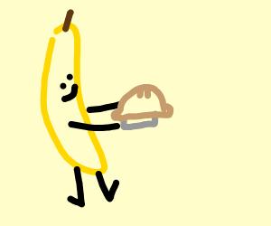 Banana eating pie