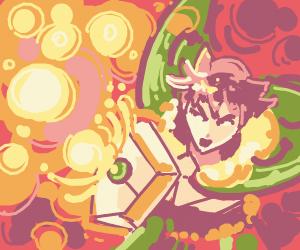 Green-hair-guy (Naofumi?) defending from fire