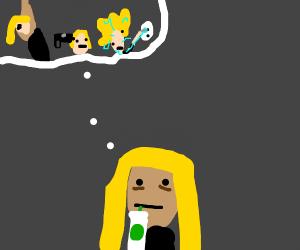Blonde depressed woman drinking Starbucks