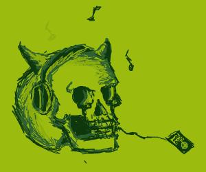 Skull listens to a hard member