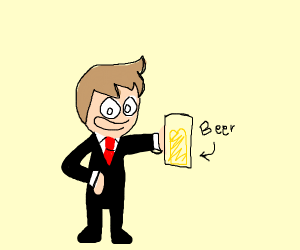 A Person in a suit drinking beer