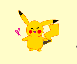V happy pikachu