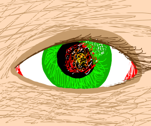eye with refelction of an explosion