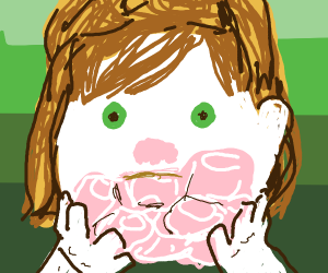 girl with a bunch of pink marshmallows