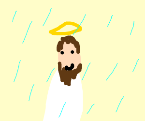 Jesus in the rain