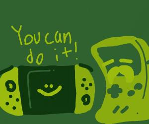 Switch urging on Grandpa Gameboy :)