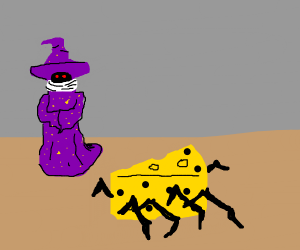 Wizard with a cheese spider