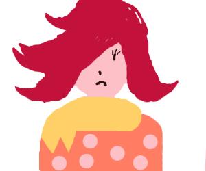 Wild hair girl is sad