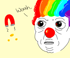 Clown amazed by magnetism.