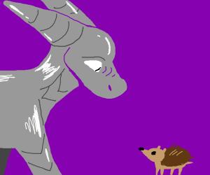 Iron dragon approaching hedgehog.