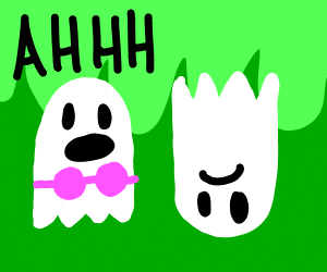Female ghost is scared by upside-down ghost