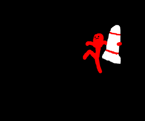 Red man sneaking with a rocket