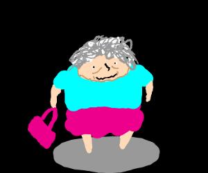 A grandma with a purse