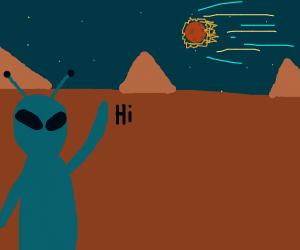 alien waving at comet