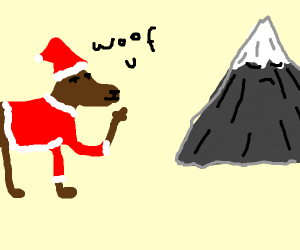 dog santa middle finger a mountain
