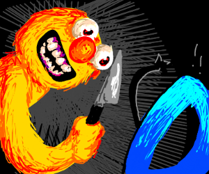 Elmo with a knife makes Drawception scared
