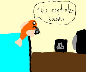 fish playing ps4 with bad controllers