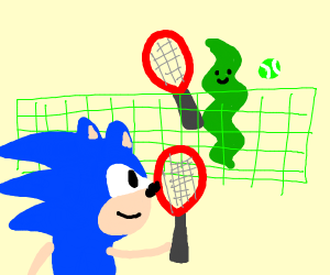 Sonic plays tennis against a piece of seaweed