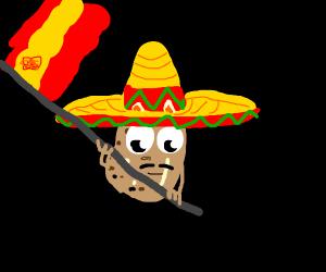 Spanish potato wearing a sombrero