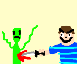 guy stabbing alien