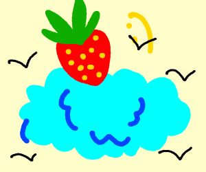 A strawberry on a cloud