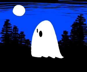 Ghost floating out of a forest