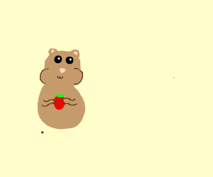 cute chipmunk with a fan a strawberry uncolor