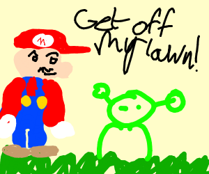 Mario yelling at a alien to get off his lawn