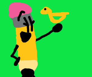 Pencil happy about receiving duck