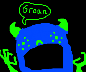 The mutated, blue and green monster groans
