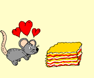 A mouse is in love with lasagna