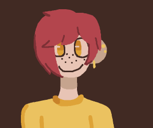 Happy short-red-hair girl with earrings