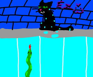 Cat beats snakes in a swimming race
