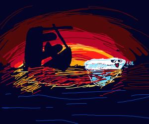 The titanic sinks at sundown