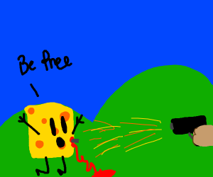 """Cheese getting shot while saying """"Go Free!"""""""