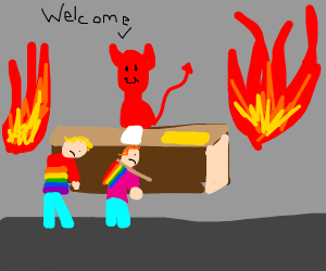 Satan kindly welcoming emos and gays to hell