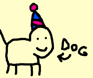 dog with a party hat