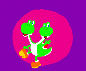 yoshi with two heads and a small shell