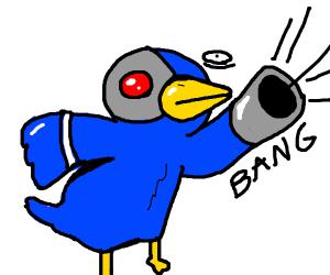 Cyborg Bird Shoots Gun