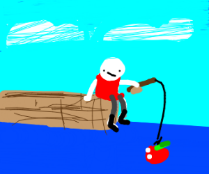 person fishing for apples