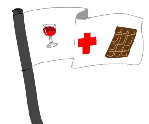 uhhh milk chocolate hospital wine glass flag
