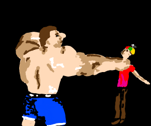 Buff Man punches tiny child