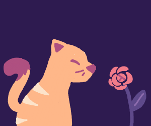 A cat very happy about their flower