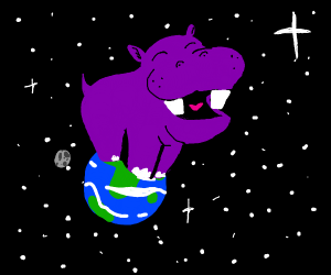 giant hippo opening it's mouth on earth