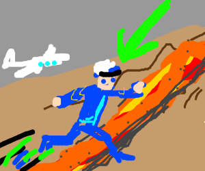 Pilot jumping over Lava